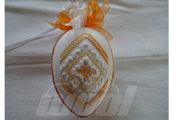 Hardangerei handgestickt, orange